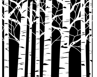 "Aspen Trees 12 x12"" Stencil /  template design perfect for mixed media, scrapbooking, journaling and so much more"