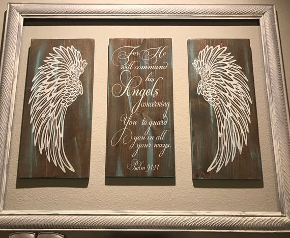 Angel Wings Wall Decor Psalm 91:11 Angels Scripture Verse