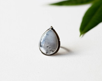Dendritic Opal Sterling Silver Ring, Statement Silver Ring, Snow winter ring, OOAK
