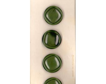 """60s Costumakers 3/4"""" (19 mm) Carded Forest Green Carved Shank Buttons, (B66, B68) Four on Card"""