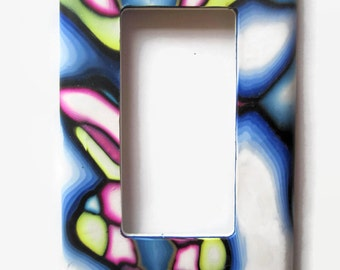 Light Switch Cover, Rocker Switchplate, Single Switch Plate, Multi-Color - Blue with White, Pink, and Yellow