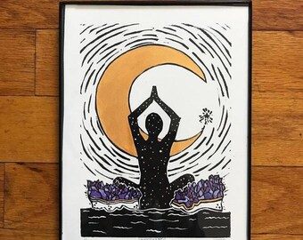 Blissful Mind *framed* lino cut block print