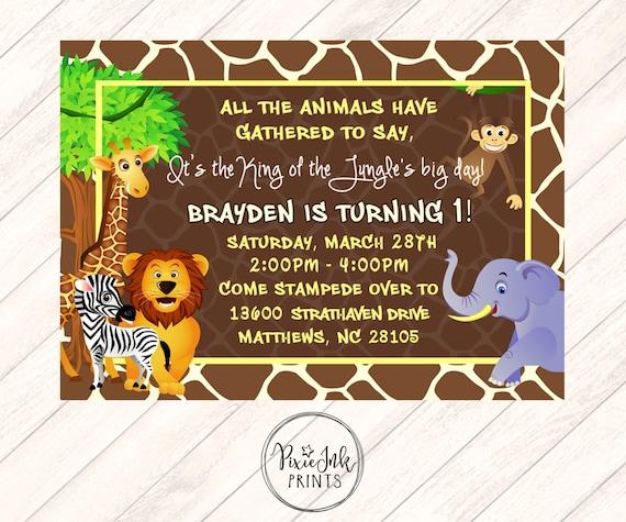 Jungle First Birthday Invitation Jungle 1st Birthday