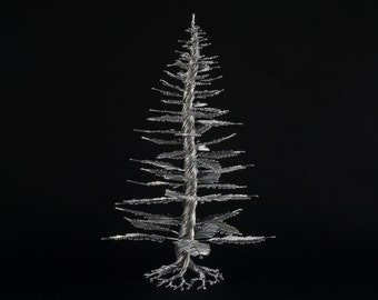 Wire Tree Sculpture of The Twisted Leader, Pine Tree, by OnceWire, Made to order