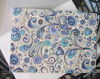 4 Bar Notecards - Bertini Swirls - Blue - (Set of 10)