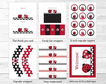 Ladybug Baby Shower Party Package / Ladybug Baby Shower / Ladybug Baby Shower Decorations / Red & Black / Printable INSTANT DOWNLOAD A254