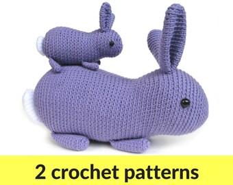 Bunny crochet patterns - two amigurumi bunny rabbit patterns, crochet animal, animal amigurumi, easy amigurumi pattern, easy crochet pattern