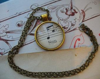 Vintage Sheet Music Necklace, Music and Dance, Re-Purposed Necklace, Music Note Necklace, Sun Necklace, Sheet Music, MarjorieMae
