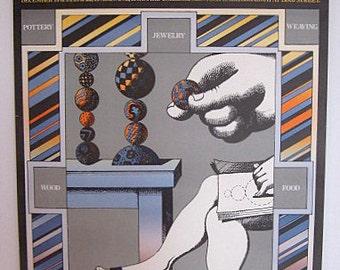 "MILTON GLASER Vintage 60's/70's Poster ""Third Annual WBAI Holiday Crafts Fair"" 99.5 New York City Public Radio Station | The Push Pin Studio"