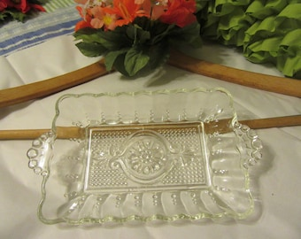 Tray or Dish Relish Rectangle Clear Glass Vintage Unique Gift Idea Serving Tray Kitchen Decor Dining Decor Home Decor Country Decor