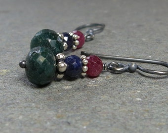 Emerald, Sapphire, Ruby Earrings Oxidized Sterling Silver Gemstone Stack Gift for Her