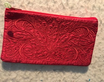 Embroidered Wallet or Cosmetic Bag