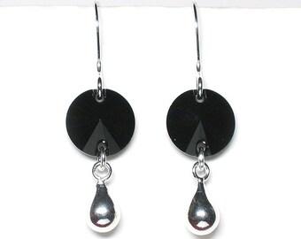 Black crystal earrings, Swarovski crystal discs, sterling silver drops, sterling silver earwires