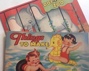 Dot to Dot, Things to Make, Booklets, Saalfield Publishing, 1953, Sea Horse, Zoo