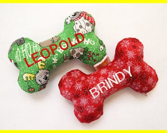 Personalized Dog Toy with Squeakers - Various Christmas Designs - Small, Medium and Large Sizes