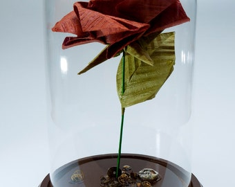 Origami rose in rust steampunk inspired large decorative globe