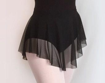 Dance Skirt Sheer Black MESH - SAB Style- Royall Dancewear- Pull-on Lyrical Costume- Adult Ballet