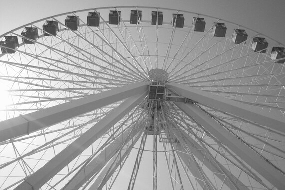 Chicagos navy pier ferris wheel 5x7 black and white