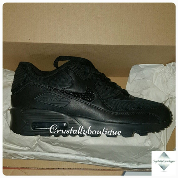 Adult Customised Black Bling Nike Air Max 90 Black Sparkle