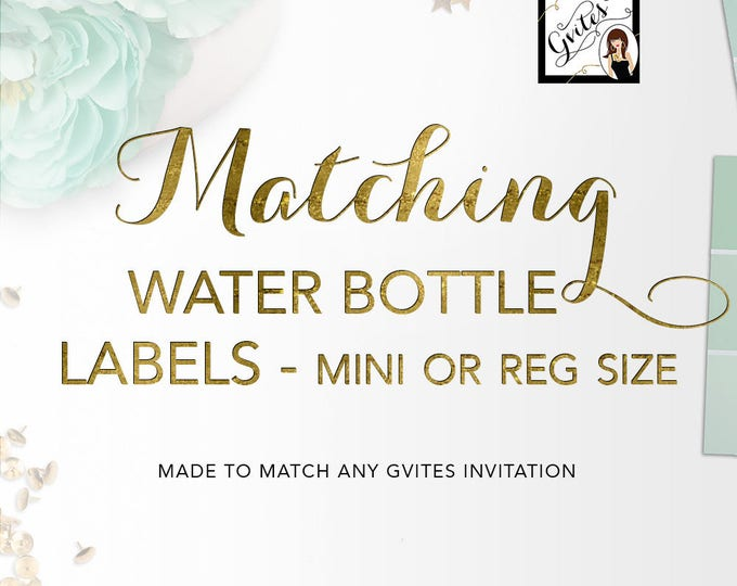 Matching Labels - Water bottle labels Add-on - To Coordinate with any Gvites invitation design.