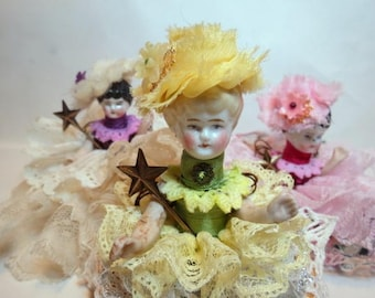 "Assemblage Angel ""Sunflowers""  Assemblage Art Doll, Antique Doll Parts, Vintage Style Art Doll"