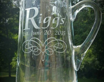 Personalized Etched Pitcher Great for Lemonade or Beer!