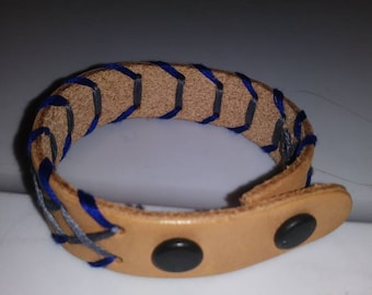 Leather embroidered bracelet