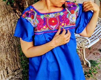 Mexican embroidered blouse, FRIDA style , BLUE embroidered shirt,  traditional embroidered, boho,