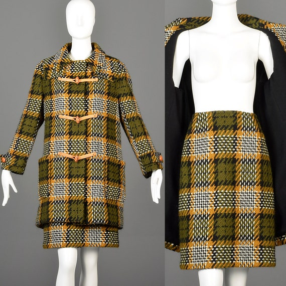 Wool Marshall Autumn Outfit Coat Loose Skirt Suit Thanksgiving Medium Separates 60s 1960s Vintage Fields Toggle Winter XHwCqx6p