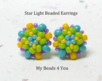 Beaded Earrings,Beadwork Earrings, Seed Bead Earrings, Stud Earrings, Beaded Post Earrings, Beadwork Earrings, Jewelry Gift, MyBeads4You