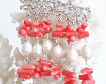 White Baroque pearl earrings, pink coral and brass