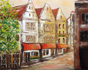 Street in Delft - Original Urban Painting on Canvas