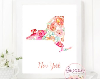 New York Floral Print, New York State Printable, Floral Watercolor State, New York Art, Hometown Printable, Housewarming Gift, For Women