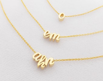 Gold Silver Lowercase Initial Letter Character Necklace, Personalized Custom monogram Multi Lower case Initials, Bridesmaid Necklace