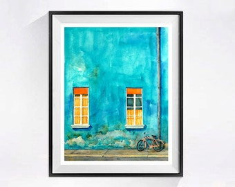 Italian Bicycle, Art, Watercolor Print, Florence Italy, Bright colors, Teal, Blue, Orange, Wall Art, Decor, Muren, WatercolorByMuren