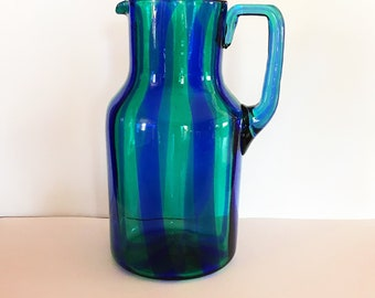 Mid-century Blown glass pitcher Vintage-no scratches, dings or chips--it's a pretty 50s collector item that is also useful