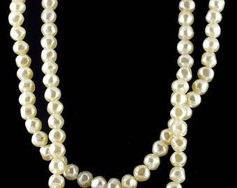 Vtg Glowing Faux Pearl Necklace 2 Strands Off Round Just Lovely
