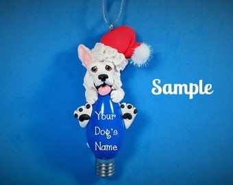 White German Shepherd Santa Christmas Light Bulb Ornament Sally's Bits of Clay PERSONALIZED FREE with dog's name