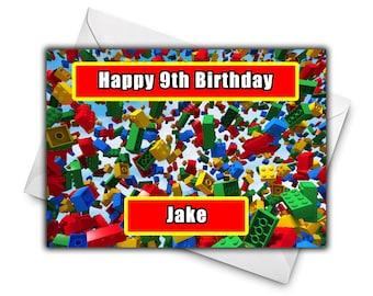 Lego birthday card etsy lego blocks figure personalised birthday greetings card large size a5 personalized birthday card bookmarktalkfo Image collections