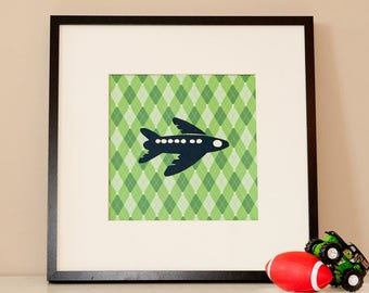 Modern Children's Paper Wall Art - Airplane in the Air - Personalized - 12 x 12 - Green or custom color