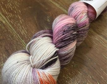 Hand Dyed Superwash Merino Nylon Glitter Sock Yarn, 100g/3.5oz, Bad Romance