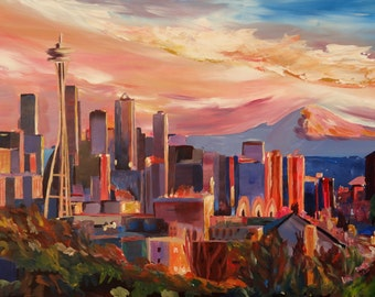 Seattle Skyline With Space Needle And Mt Rainier - Fine Art Print Giclee / Original Painting Available