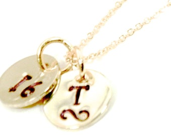 Initials necklace | Numbers necklace | Hand stamped necklace | Gold initals or numbers disks | 2 disks necklace | FREE SHIPPING in US