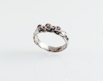 Tri-Diamond Lunar Band - in recycled silver
