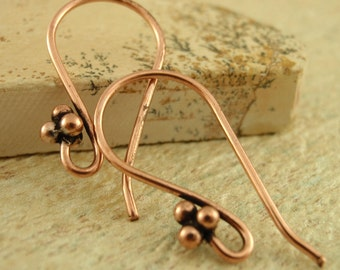Copper Ear Wires - 4 Ball Accent