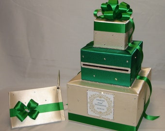 Champagne and Emerald Green Card Box and matching Guest Book with Pen