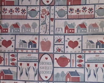 Home Sweet Home Country Print Flannel Backed Vinyl 1 yd. 54 inches