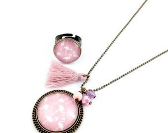 Parure Bronze   * Cabochon*   Flamants roses  * perles roses