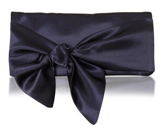 Navy satin HOPE clutch purse, bridesmaids, mother of the bride