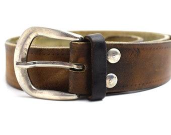 Vintage Mens Leather Belt Brown Size 38